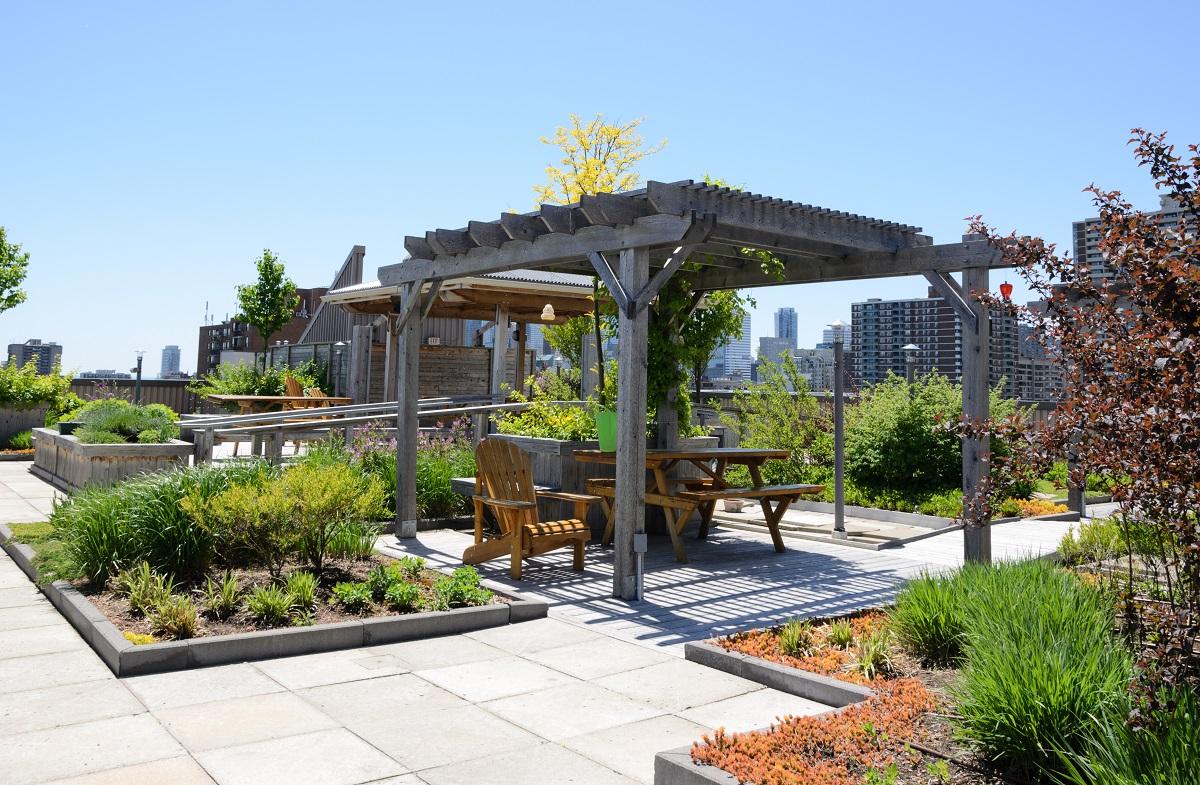 Rooftop garden benches